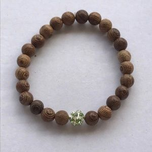 Jewelry - Olive Wood and Vintage Green Bead Bracelet